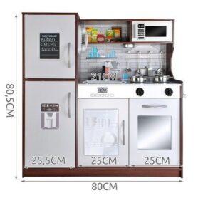 Дървена оборудвана кухня със светлина и звуци - Сива с тъмнокафяво